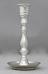 Saucer Base Candlestick in Silver, Tall