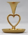 Saucer Base Heart Candlestick in Brass