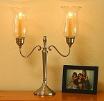 Heritage Hurricane Candelabra, Pewter Imperfect