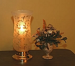 Carissa Brass Hurricane with Etched Glass