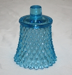 Vintage Diamond Hobnail Pegged Votive Holder in Pale Blue, Set of 2