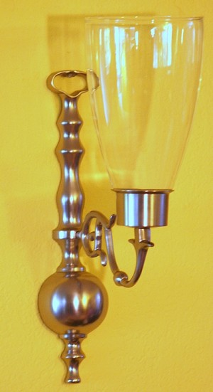 Hurricane Bulb Sconce, Pewter