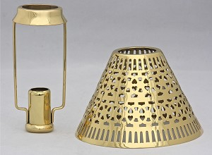 Cassidy Candle Shade with Carrier, Brass