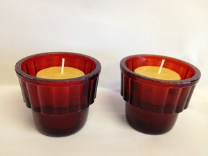 Red Ridged Votive Holder
