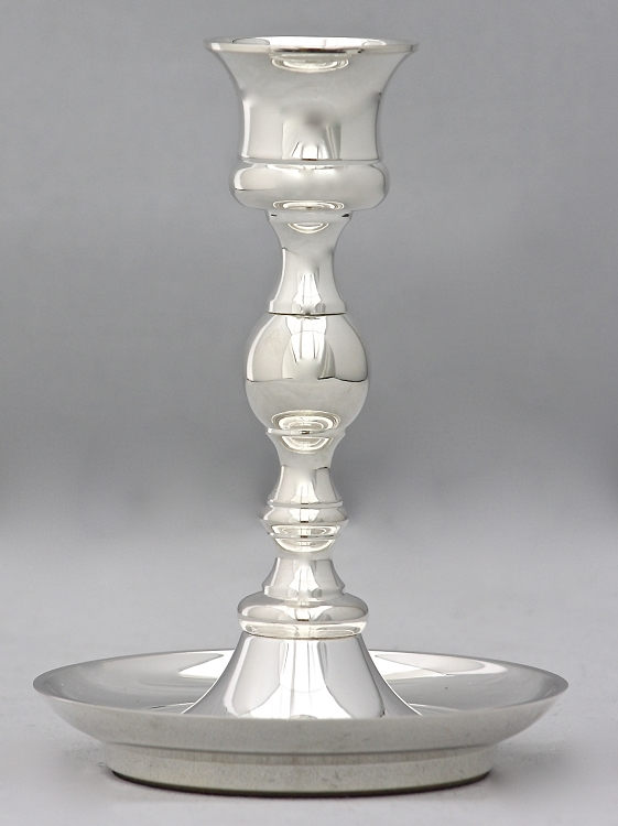 Saucer Base Candlestick in Silver, Medium