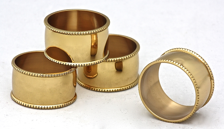Beaded Napkin Rings, Brass