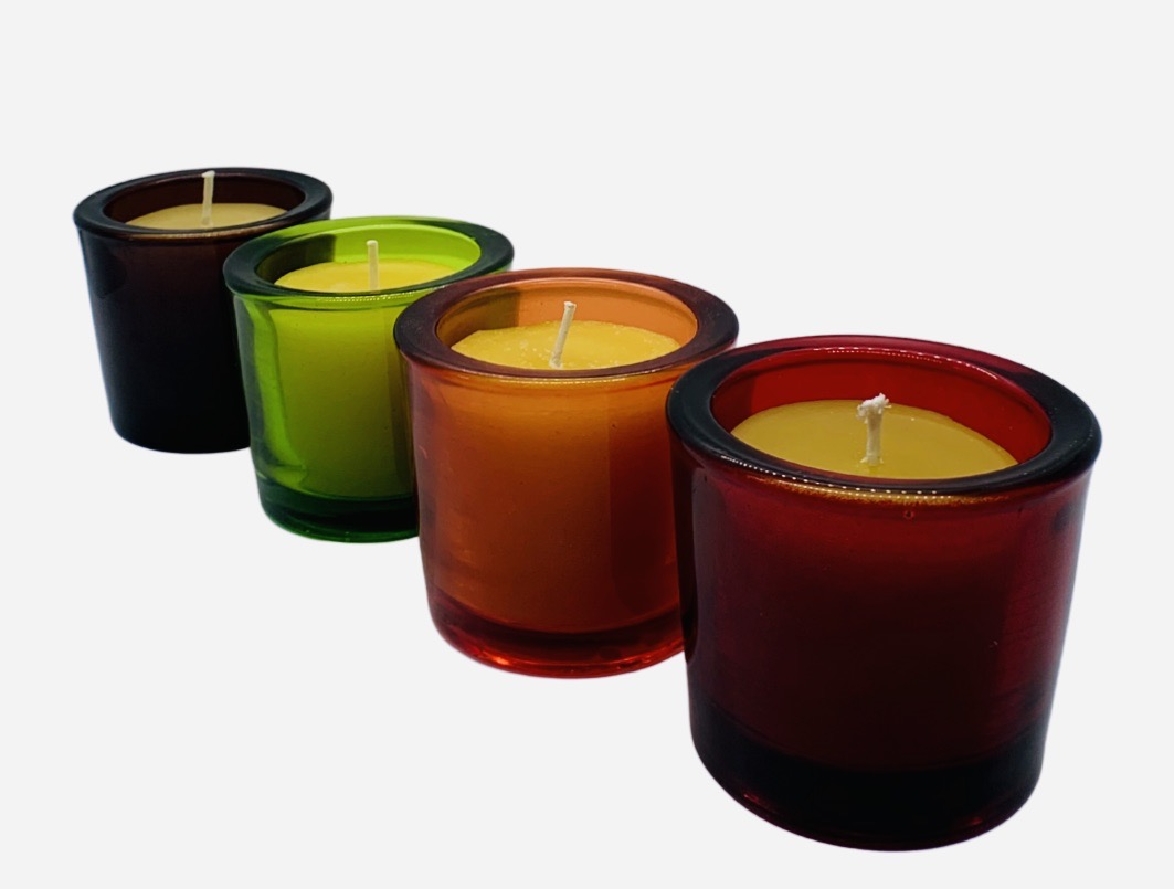 Aromatherapy Beeswax Votive Candle with Heavy Glass