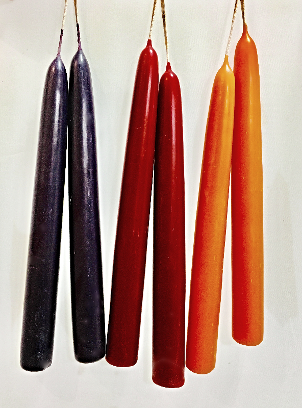 8 X 7/8 Inch Colored Beeswax Taper Candles