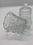 Vintage Glass Cubic Hobnail Votive, Set of Two