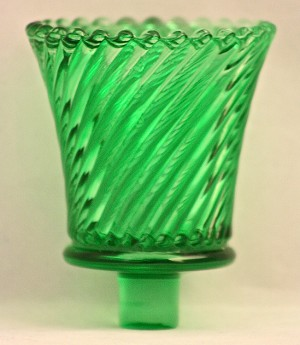 Pegged Swirl Votive Glass, Green