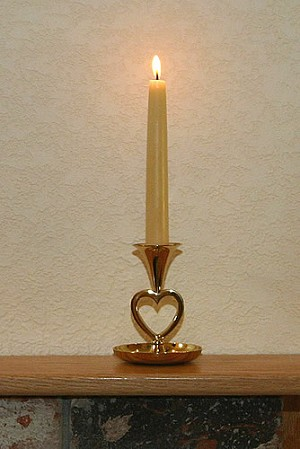 Saucer Base Heart Candlestick in Brass Imperfect