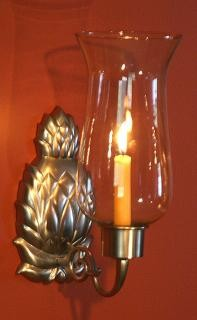 Pineapple Hurricane Sconce, Pewter