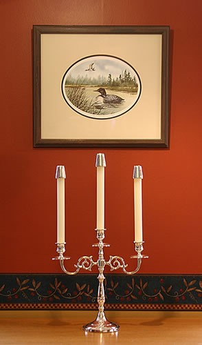 Three Arm Silver Candelabra