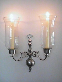 Astor Double Arm Hurricane Sconce, Pewter